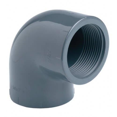 """PVC Knie Druk 90° Lijm x Binnendraad 63 x 2"""""""