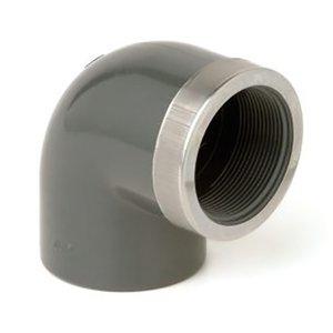 """PVC Knie Druk 90º lijm x binnendraad met RVS verstevigingsring 32 x 1"""""""
