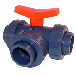PVC Kogelkraan 3-weg T-boring 32 mm lijm