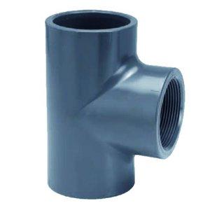 """Effast PVC T-stuk Druk 90° 50 x 1½"""" binnendraad"""