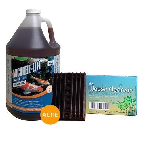 Microbe Lift Microbe-Lift Clean & Clear 4 ltr + Water Cleanser 200 gram zinkend vijverblok