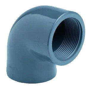 """Effast PVC Knie Druk 90° 2 x Binnendraad 1½"""""""