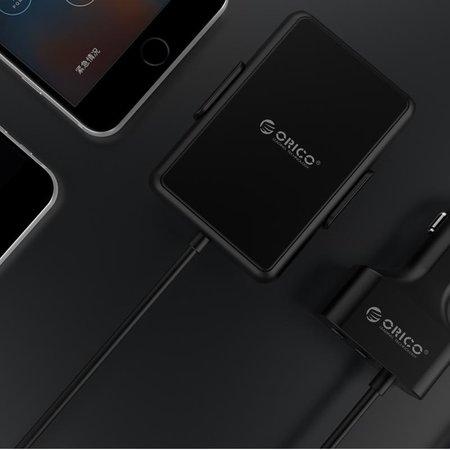 Orico  Autolader met 5 USB 3.0 laadpoorten waarvan 1 met Quick Charge 3.0 – Incl. clip om aan de rugleuning te bevestigen – Intelligente Chip – DC12-24V – 52W – zwart