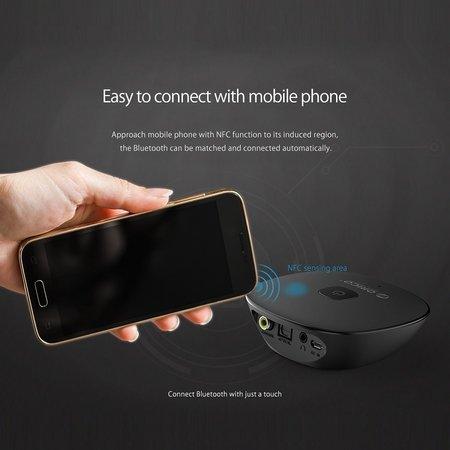 Orico  Bluetooth 4.1 audio ontvanger met 3.5mm audio-uitgang, digitale coaxiale en digitale optische as –NFC-Functie - zwart