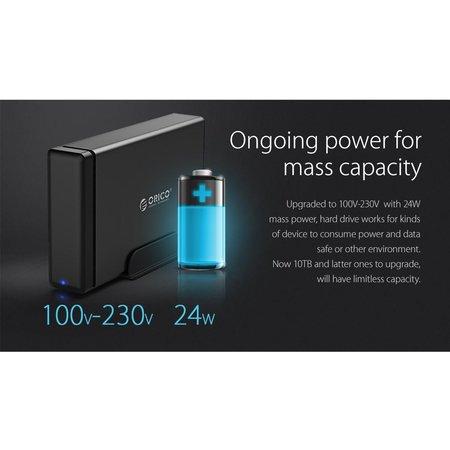 Orico  Soft Closing Type-C Harde Schijf Behuizing - 3.5 inch SATA HDD/SDD Docking Station - zwart