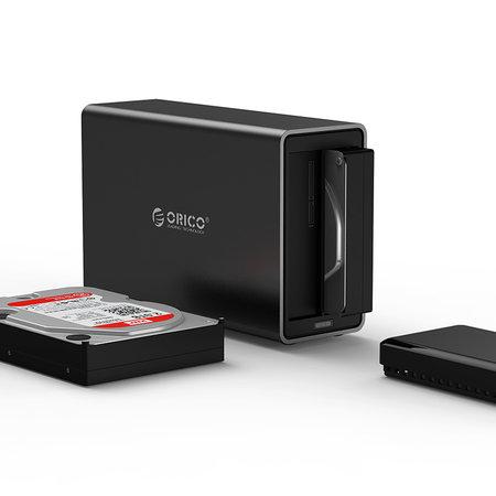 Orico  Orico Soft closing 2 Bay Type-C Harde Schijf Behuizing 3.5 inch SATA HDD/SDD Docking Station zwart