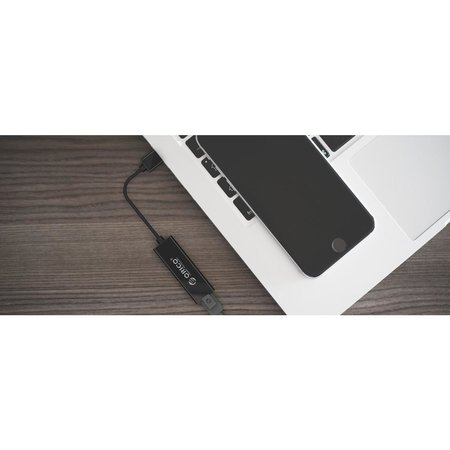 Orico  USB3.0 Type-A naar Ethernet Gigabit Adapter - 10/100/1000Mbps - 13CM Kabel - Zwart