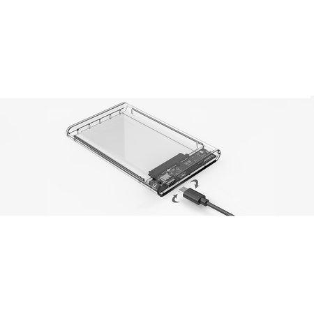 Orico  2.5 Inch Harde Schijf Behuizing - Type-C - USB3.0 - SATA III - 5Gbps - UASP - ABS - Transparant