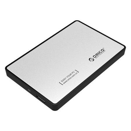 Orico  Harde Schijf Behuizing 2,5 inch / Metaal & Kunststof / HDD / SSD / USB3.0 / Zilver