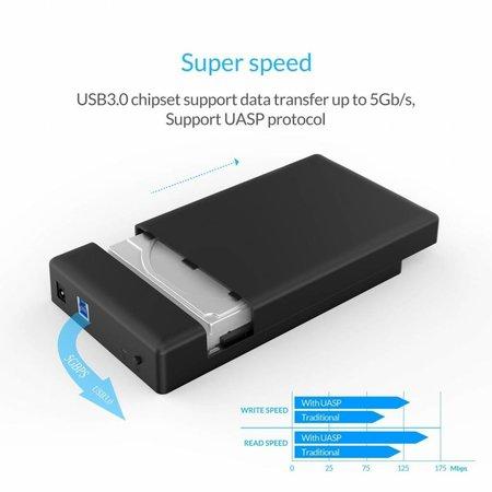 Orico  Harde Schijf Behuizing 3,5 inch / Metaal & Kunststof / HDD / SSD / USB3.0 / Zwart