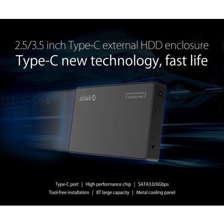 Orico  3.5 inch Harde Schijf Behuizing - Type-C aansluiting - SATA III - USB3.0 - 5Gbps - HDD/SSD - incl. Type-C naar Type-A datakabel - Incl. Stroomadapter - Mat Zwart