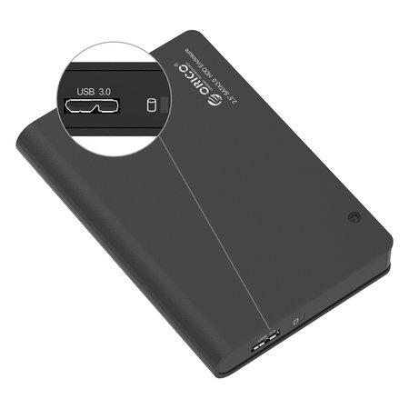 Orico  Aluminium 2.5 inch harde schijf behuizing - SATA I, II, III - HDD/SSD - 5Gbps - Incl. Datakabel - Zwart