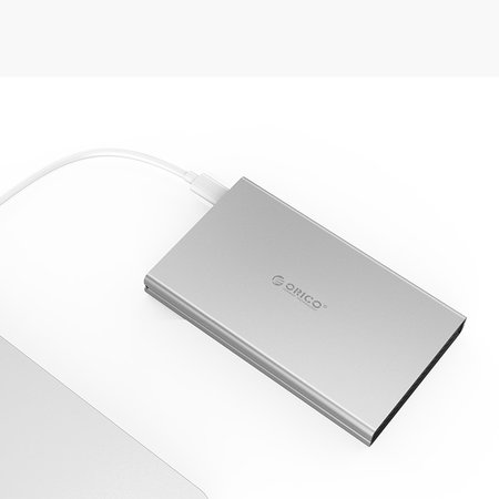 Orico  Aluminium harde schijf behuizing voor 2.5 inch harde schijven - HDD/SDD - SATA 3 - 5Gbps - Incl. kabel - LED-indicator - Mac Style - Zilver