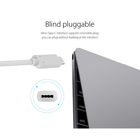 Orico  Aluminium hub van Type-C naar HDMI, VGA, USB3.0 type-A en USB type-C - Power Delivery - 5Gbps - 15CM Kabel – Grijs