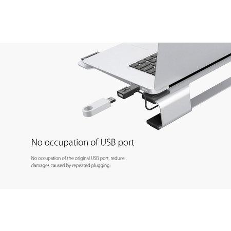 Orico  Multifunctionele Aluminium Laptopstandaard/Cooling Pad - Warmtegeleiding, Kabelmanagement en Ergonomische houding - voor Laptops tot 15 Inch - Mac Style - Zilver