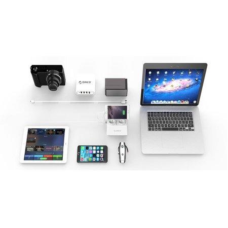 Orico  Stekkerdoos met 2 Stopcontacten en 5 USB-Laadpoorten - Tablet/Smartphone Standaard - 2500W - Incl. aan/uit schakelaar en overspanningsbeveiliging - Wit