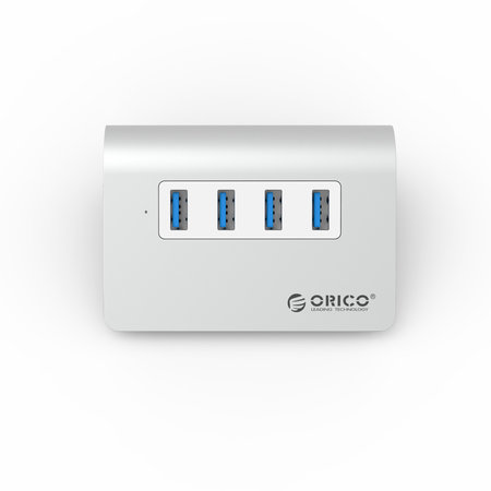 Orico  Aluminium USB 3.0 hub met 4 poorten – 5Gbps – Mac Style – LED-indicator – Geschikt voor Windows, Linux en Mac OS - USB 3.0 kabel van 100 cm - Zilver