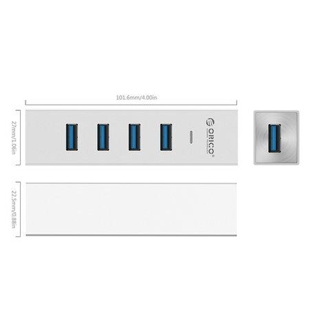 Orico  Aluminium 4 poort USB3.0 Hub, uitbreiding voor Mobiel, Laptop, Desktop, compatible met USB Type C