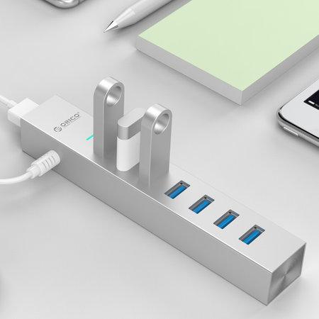 Orico  Aluminium USB3.0 hub met 7 type-A poorten - compatibel met Type-A en Type-C - Incl 2 datakabels & 10W stroomadapter - VIA-chip - 5Gbps - Zilver Metallic