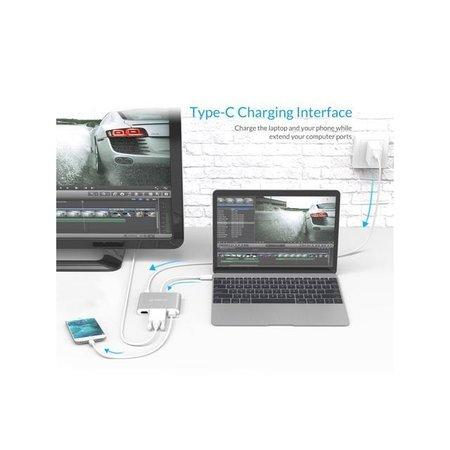 Orico  Aluminium hub van Type-C naar HDMI, VGA, USB3.0 type-A en USB type-C - Power Delivery - 5Gbps - 15CM Kabel - Zilver