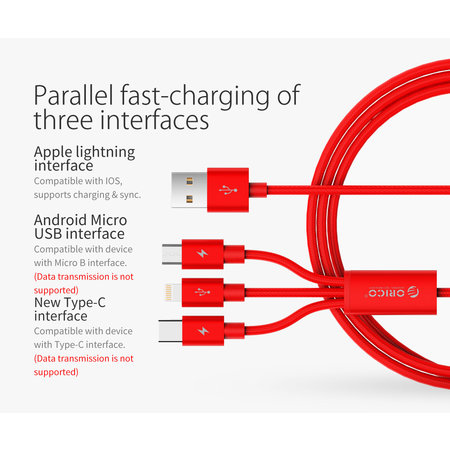 Orico  USB-C, Lightning en Micro-USB laadkabel 3A - 1.2M - Rood