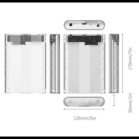 Orico  Transparent Hard Drive Enclosure 3.5 inch - SATA III - USB3.0 - 5Gbps