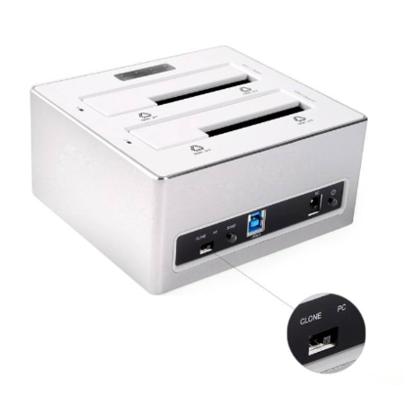 Orico  Aluminium Dual Bay Externe Harde Schijf Docking station voor 2.5 & 3.5 inch HDD/SDD met 1-1 Clone USB 3.0 - Zilver / wit Mac style