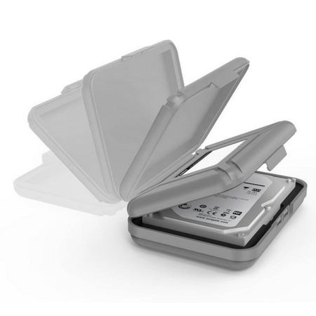 Orico   Draagbare beschermhoes / beschermdoos voor een 3,5 inch harde schijf - Vochtbestendig, stofdicht en antistatisch – PP Kunststof – Inclusief schrijflabel - Grijs