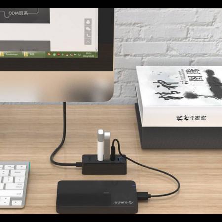 Orico  USB3.0 Hub met 4 USB3.0 type-A poorten – 5Gbps – 100CM Datakabel – OTG-Functie - voor Windows, Linux en Mac OS - Zwart