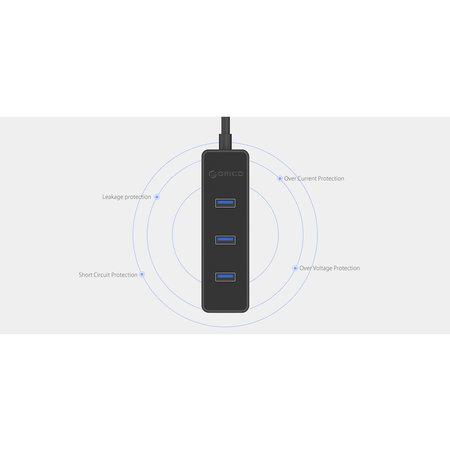Orico   4 poorts 5 Gbps USB 3.0 hub in strak modern design met 30cm USB 3.0 datakabel zwart