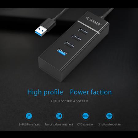 Orico   Stijlvolle USB hub met 4 poorten - voor Windows XP / Vista / 7 / 8 / 10 / Linux / Mac OS - Zwart