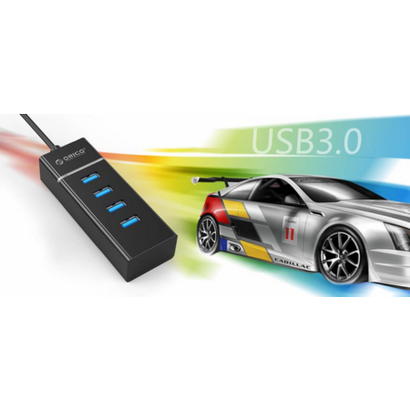 Orico  Stijlvolle USB 3.0 hub met 4 poorten - voor Windows XP / Vista / 7 / 8 / 10 / Linux / Mac OS - LED-indicator - Zwart