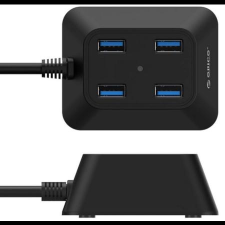Orico  Compacte USB3.0 Hub met 4 type-A poorten – 5Gbps – 100CM USB3.0 Datakabel - VIA-chip - voor Windows, Linux en Mac OS - Zwart