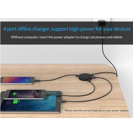 Orico   Ronde draagbare USB 3.0 hub met 4x USB 3.0 SuperSpeed Type-A poorten - 5Gbps - OTG-Functie - LED-Indicator - 15CM kabel - Zwart