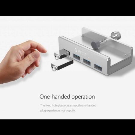 Orico   Aluminium USB 3.0 hub met clip-on design - 4 USB Type-A poorten - Klembereik 10 tot 32mm - 5Gbps - Incl. datakabel - Zilver
