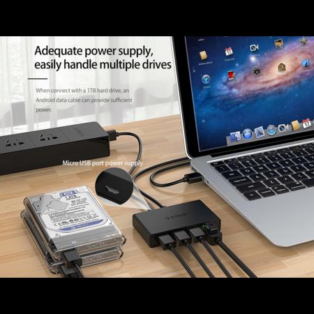 Orico  USB 3.0 hub met 3 USB-A poorten en Gigabit Ethernet poor