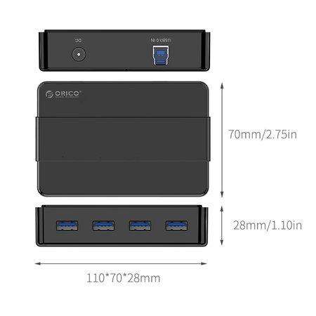 Orico   USB 3.0 Hub met 4 type-A poorten – 4x LED-indicatoren - 5Gbps – 100CM USB3.0 Datakabel – Incl. 12V-2A stroomadapter - voor Windows, Linux en Mac OS – Zwart