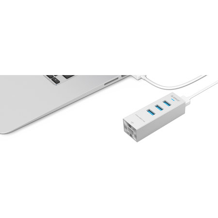 Orico  Aluminium RJ45 Gigabit Ethernet adapter met USB3.0 Hub, uitbreiding voor Mobiel, Laptop, Desktop, compatible met USB Type C