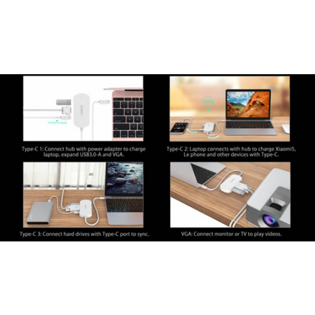 Orico  3-in-1 Type-C hub met USB 3.0 Type-A, Type-C PD en VGA poorten - Power Delivery - IC chip - Kabellengte 30 CM - Wit