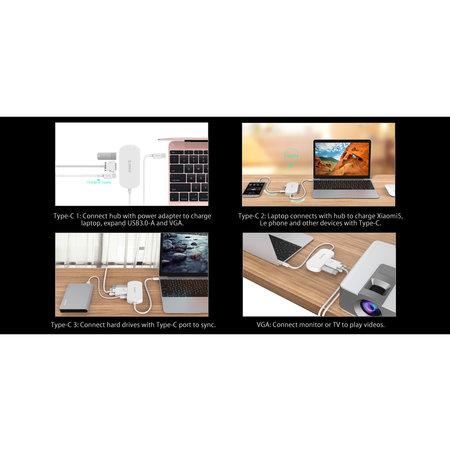 Orico  3in1 Type-C naar Type-C, USB 3.0 Type-A en HDMI 4K Adapter - met Power Delivery - Voor Windows, Mac OS en Linux.