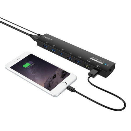 Orico  Aluminium 7 Port USB3.0 Hub met BC1.2 uitbreiding voor Mobiel, Laptop, Desktop