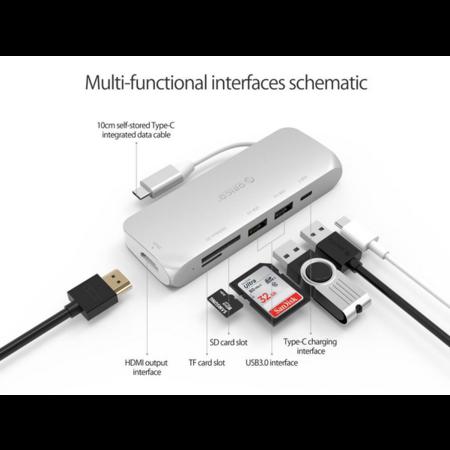 Orico  Multifunctionele aluminium USB3.0 Type-C hub - Power Delivery - 4K HDMI - 2 x USB3.0 Type-A - SD/TF kaartlezer - zilver