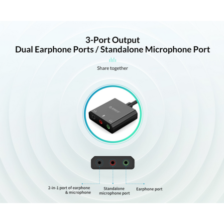 Orico  USB geluidskaart met 10 cm kabel - Microfoon, speaker en headset functie - Zwart