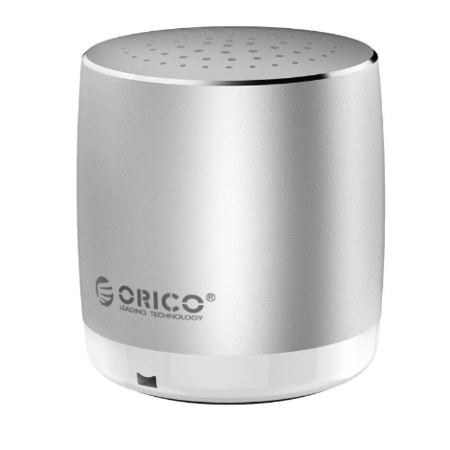 Orico  Aluminium Draagbare Mini Bluetooth Speaker - 53dB - Bluetooth 4.2 - Bereik: 10 meter - Geschikt voor handsfree bellen - 280mAh - 3W - Inclusief Micro USB kabel - Zilver