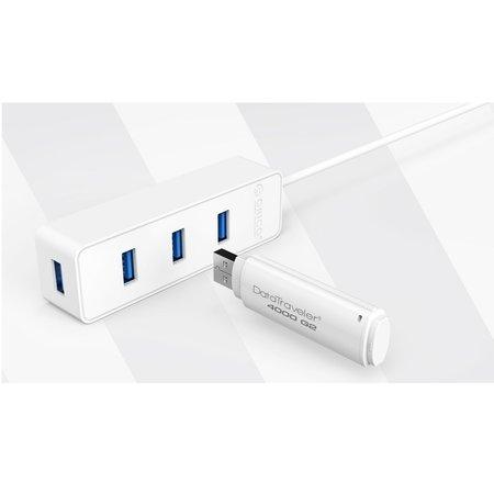 Orico  USB3.0 type-C Hub met 4 USB3.0 type-A poorten – 5Gbps – 30CM USB3.0 Datakabel – voor Windows, Linux en Mac OS – Wit