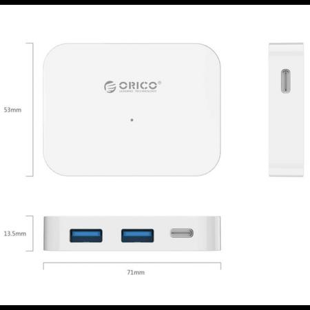 Orico  USB3.0 type-C hub naar 2 x USB-A en 2x USB-C - Wit