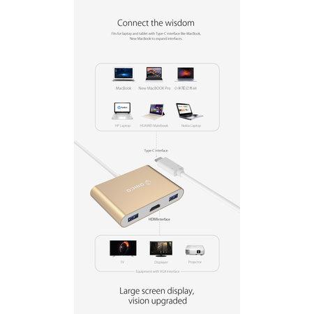 Orico  Aluminum USB Type-C hub geschikt voor MacBook, 1x USB Type C, 3x USB 3.0 1x HDMI Converter