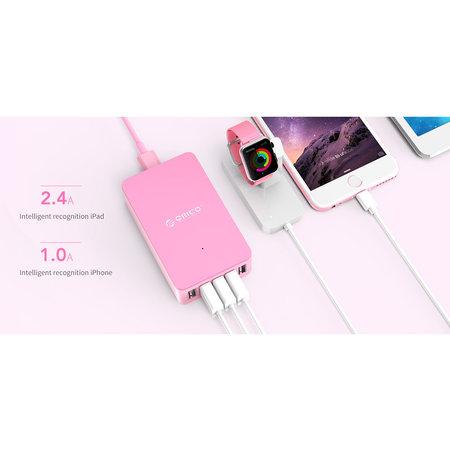 Orico  Smart desktop charger met 5 USB-laadpoorten - IC chip - 40W - Roze