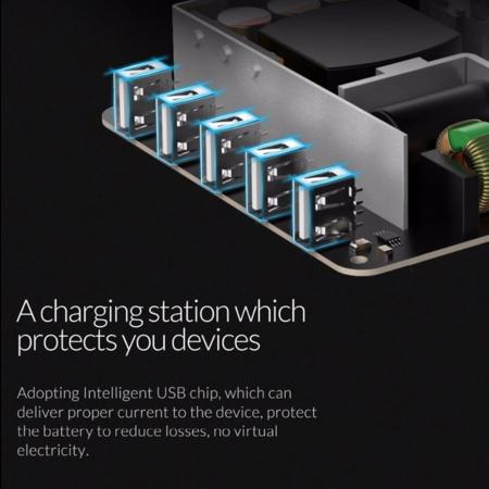 Orico   40W Multi charger docking station 5 Poort USB oplaadstation - Zwart