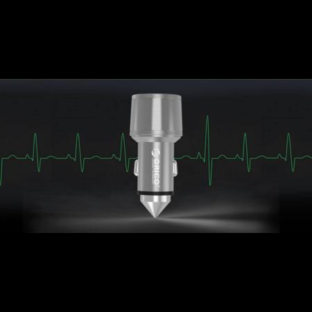 Orico  Aluminium Autolader met beveiligingshamer - 2 USB Type-A laadpoorten - 3.1A - 12-24V - Zilver